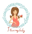 Beautiful mom to be holding cupcake vector image vector image