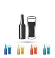 beer bottle and glass icon on white background vector image