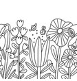 big cartoon flowers seamless composition outline vector image vector image