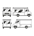 blank commercial food truck in different points of vector image vector image