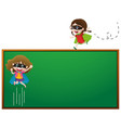 board template with two girls in hero outfit vector image vector image