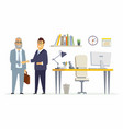 business partners shake hands - modern cartoon vector image