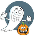 Cartoon ghost with a jack o lantern vector image vector image