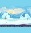 Cartoon winter game style landscape with with ice vector image