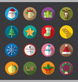christmas flat icons color vector image