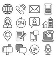 contact us icons set on white background line vector image vector image