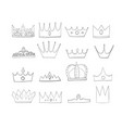 crowns with gems and diamonds set a symbol of vector image vector image