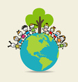 Cute children on Green Eco Earth vector image vector image