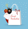 cute st nicholas with devil and falling snow vector image vector image
