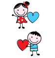 Cute stick Kids holding hearts for Valentines Day vector image vector image