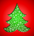 Cutout paper Christmas tree with snowflakes vector image vector image