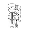 figure doctor and nurse to help people vector image vector image
