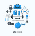 flat design icons fitness gym exercise equipment vector image vector image
