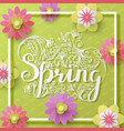 fresh spring background with lettering vector image vector image