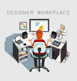 gaphic designer at work designer workplace vector image