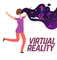 girl skiing with virtual reality glasses vector image vector image
