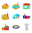 glass building icons set cartoon style vector image vector image