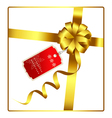 Gold bow and ribbon with tag vector image