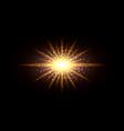 golden glowing light flash effect sun shining vector image vector image
