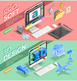 graphic design isometric banners vector image vector image