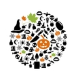halloween icons in circle vector image vector image