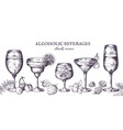 hand drawn cocktails vintage alcoholic menu vector image