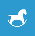 horse toy icon white on the blue background vector image