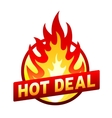 Hot deal fire badge price sticker flame vector image vector image