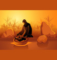 jochebed put moses in nile vector image vector image