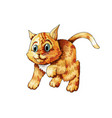 kitten playing cartoon cute happy ginger vector image