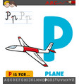 letter p worksheet with cartoon plane vector image vector image