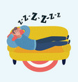 man sleeping on sofa vector image vector image