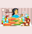 mukbang eating show girl eating show vector image