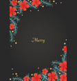 pine leaf and red hibiscus flower on background vector image vector image