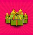pop art collection gift box beautiful ribbon vector image