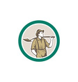 Prospector Miner With Shovel Circle Retro vector image vector image