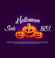 pumpkin and halloween banner sale for holiday vector image