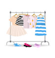 rack with colorful summer children clothes hanging vector image vector image