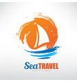 sail boat on seascape background stylized symbol vector image vector image