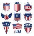 set of emblems with american symbols usa flag vector image vector image