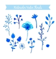 Set of watercolor flowers handmade vector image