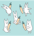 set rabbits with carrots vector image vector image