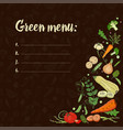 set with vegetables on a dark background eco food vector image vector image