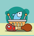 shopping basket fish chicken and meat vector image vector image