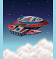 spaceship flying in dark galaxy vector image vector image