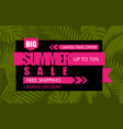 summer sale banner with green tropical exotic palm vector image vector image