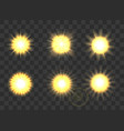 suns on transparent background vector image vector image