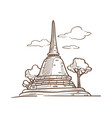 thailand pagoda culture and travel symbol vector image