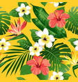Tropical flowers and leaves on yellow background