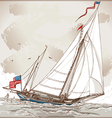 Vintage View of American Yacht in Regatta vector image